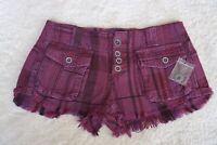 Free People Womens size 24 shorts burgundy plaid frayed hem NWOT