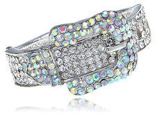 Silver Tune Aurora Borealis Crystal Rhinestune Belt Buckle Bangle Bracelet Cuff