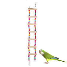 Wooden Bird Swing Fun Play Colorful Cage Toy Ladder for Squirrels Parrots