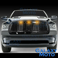 13-17 Dodge RAM Raptor Style Gloss Black Replacement Mesh Grille+Shell+Amber LED