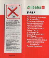 ALITALIA Team Italian Airline B 767 SAFETY CARD 9/96 folder brochure sc833 aa