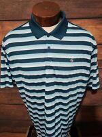 Nike Golf Dri Fit Mens XL Extra Large Blue White Striped Short Sleeve Golf Polo