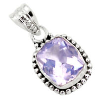 5.23cts Faceted Natural Lavender Amethyst 925 Silver Solitaire Pendant P41598