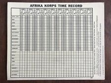 Board Game Parts, Afrika Korps, Time Record Card, Avalon Hill, 1964
