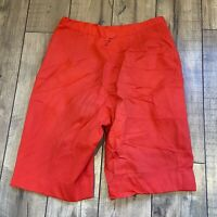 """Vintage 80s Shorts 1980s High Waisted Bermuda Dress Shorts Pleated Red 27"""" Waist"""