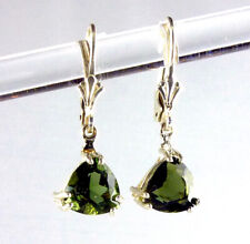 Natural, Genuine Trillion Moldavite Leverback Earrings .925 Sterling Silver 8MM