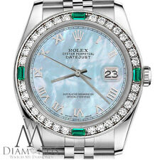 Ladies Rolex 26mm Datejust Baby Blue MOP Roman Numeral Emerald Dial Watch