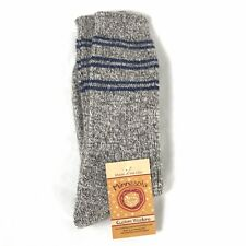 Minnesota Custom Woolens Angora Merino Wool Blend Socks Blue Stripe New L 10-12