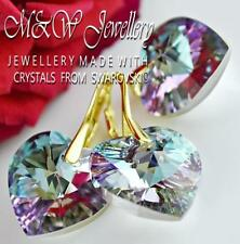 GOLD PLATED 925 SILVER SET- EARRINGS/PENDANT HEART 18MM CRYSTALS FROM SWAROVSKI®