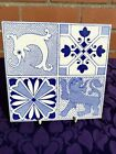 LOVELY STYLISH ANTIQUE QUARTERED ARTS   CRAFTS TILE FEATURING SEAHORSE  LION  4