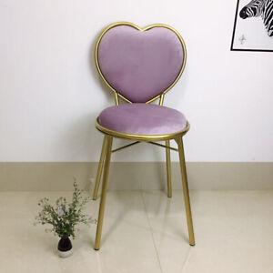 Modern Colourful Velvet Cushion Seat Gold Metal Heart Shape Backrest Chair Stool