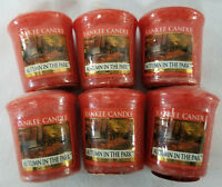 Yankee Candle Votives: AUTUMN IN THE PARK Wax Melts Lot of 6 Orange Old Label
