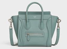 *AUTHENTIC* Celine Nano Luggage Bag in Drummed Calfskin *CELADON* Brand New