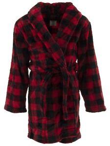 Sleep On It Boys Red Black Buffalo Check Plaid Fleece Bathrobe