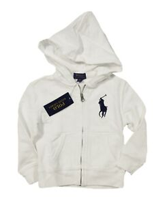 Polo Ralph Lauren Boys White Big Pony Terry Full Zip Hoodie