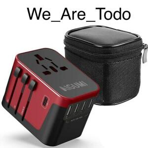 AIGUMI - Red Worldwide Travel Adapter, 4 USB Ports with 5.6A High Speed Charger
