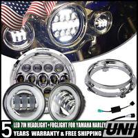7'' LED Headlight Fog for Yamaha V-Star XVS 650 950 1100 1300 Classic Stryker