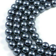 Dark Gray Shell Pearl 10mm Round Beads Strand 16 inch Jewellery Making Beads