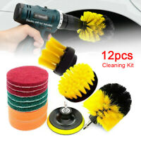 12pcs Drill Brushes Set Scrubber Clean Cleaner Kit Car Wash Brush Cleaning Tools