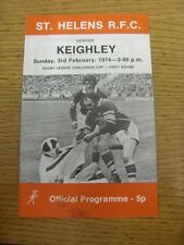 03/02/1974 programma Rugby League: ST. Helens V keighley [CHALLENGE Cup] (lieve