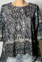 bershka Shirt Gr. S grau-rosa-creme-weiß 3/4-Arm Ethno Oversize Zipfel Shirt