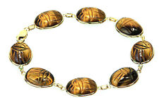 14K Yellow Gold Tiger Eye Scarab Gemstone Bracelet 7.25 Inches
