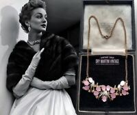 VINTAGE 1950s PRETTY PINK AURORA BOREALIS RHINESTONE THERMOSET NECKLACE OCCASION