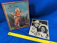 2 LOT Roy Rogers Dale Evans Trigger VTG Photos Happy Trails Auto Press Promo