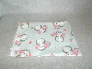Handmade Cotton Flannel Hedgehog Pink Floral White Lace Small Pillowcase Cover