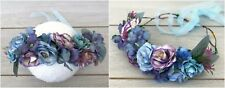 Blue, Aqua and Purple Floral Crown - Flower Wreath - Fairy Halo - Wedding Prop