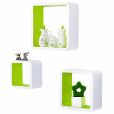 Wall Shelves Floating Wall Mounted Shelf MDF Set of 3 Cube Green URG9236gn