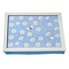 Blue Daisy Lap Tray With Bean Bag Base Dinner Padded TV Wooden Floral Gift Bed