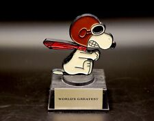 """Aviva Snoopy As The Red Baron World's Greatest 4 1/2"""" Plastic Trophy MINT"""