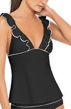 Robin Piccone Malia Ruffle Tankini Bikini Top L (12-14) Black/Ivory $148