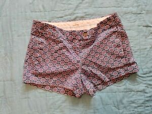 J Crew Broken In Chino Shorts Blue Paisley Size 4 Flat Front