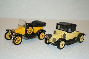 Vintage Corgi Classics Yellow 1915 Ford Model T + 1910 Renault 12/16