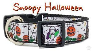 "Snoopy Halloween dog collar handmade adjustable buckle 1"" or 5/8"" wide or leash"