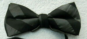 BLACK GREY 4.5 INCH WIDE polyester BOW TIE
