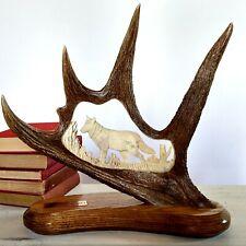 Vtg Carved Alaska Moose Antler Sculpture Signed Wes Lancaster Wolf in Nature Art