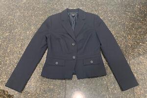 NEW Ann Taylor Blazer Jacket Blue Career 2 Buttons Pockets Cotton Womens Size 6