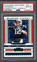 2019 Panini Contenders #WT1 TOM BRADY Winning Ticket-Emerald PSA 10 Gem Mint