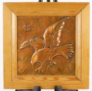 Guy Chetta Raised Copper Color Eagle Bird Signed Original Framed Art