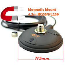 """SO-239 4.5"""" Magnetic Magnet Mount 4.5m Cable RG58 for VHF UHF Car Mobile Antenna"""