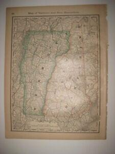 FINE VINTAGE ANTIQUE 1883 VERMONT NEW HAMPSHIRE RAILROAD MAP DETAILED RARE NR