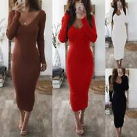 Women's Long Sleeve V-Neck Stretch Bodycon Ribbed Knit Pencil Midi Dress S-XL