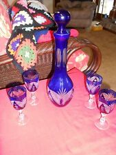 Magnificent BOHEMIA Glass Decanter and 4 Glasses...................SALE