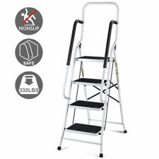 2 In 1 Non-slip 4 Step Ladder Folding Stool w/ Handrails 330Lbs Load Capacity