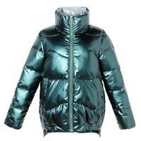 Womens Cotton Down Coat Puffer Jacket Winter Outwear Shiny Warm Stand Collar sz