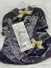 "Daisy Kingdom-Doll Dress Purple Gold Bows-Fits 17-19"" Dolls-Puff sleeve w/ Purse"