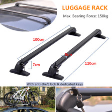 2PC Car Crossbar Rack w/Anti-theft Lock Roof Rail Luggage Carrier Aluminum Frame